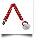 Polka Dot Print Pacifier Holder Clip - RED - CLOSEOUT