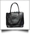 Luxurious Scalloped Faux Leather Purse - BLACK