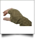 Fingerless Cable Knit Slouch Gloves - BROWN - CLOSEOUT