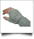 Fingerless Cable Knit Slouch Gloves - LIGHT GRAY - CLOSEOUT