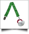 Polka Dot Print Pacifier Holder Clip - GREEN - CLOSEOUT