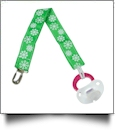 Snowflakes Print Pacifier Holder Clip - GREEN - CLOSEOUT