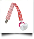 Zebra & Snowflake Print Pacifier Holder Clip - RED - CLOSEOUT