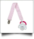 Chevron Print Pacifier Holder Clip - LIGHT PINK - CLOSEOUT