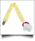 Chevron Print Pacifier Holder Clip - YELLOW - CLOSEOUT