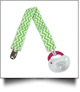 Chevron Print Pacifier Holder Clip - LIME - CLOSEOUT