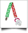 Snowflake Print Pacifier Holder Clip - RED & GREEN - CLOSEOUT