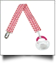 Checkered Print Pacifier Holder Clip - RED & PINK - CLOSEOUT