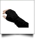 Fingerless Cable Knit Slouch Gloves - BLACK - CLOSEOUT