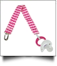 Chevron Print Pacifier Holder Clip - PINK MULTI - CLOSEOUT