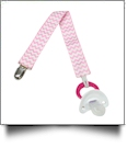 Chevron Print Pacifier Holder Clip - PINK - CLOSEOUT