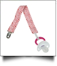 Zebra Print Pacifier Holder Clip - RED - CLOSEOUT
