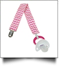 Chevron Print Pacifier Holder Clip - HOT PINK - CLOSEOUT