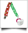Jumbo Polka Dot & Snowflake Print Pacifier Holder Clip - MULTI - CLOSEOUT