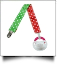 Mini Dots Print Pacifier Holder Clip - RED & GREEN - CLOSEOUT