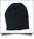 Chunky Knit Cap  Embroidery Blanks - BLACK - CLOSEOUT