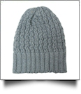 Chunky Knit Cap  Embroidery Blanks - GRAY - CLOSEOUT