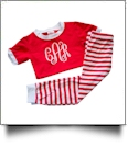 Short Sleeve Striped Pajamas - RED/WHITE - CLOSEOUT
