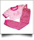 Short Sleeve Striped Pajamas - PINK/HOT PINK - CLOSEOUT