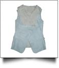 Suede & Fur Open Front Reversible Vest - ARCTIC SILVER - CLOSEOUT