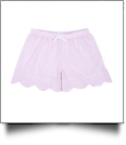 The Coral Palms® Ladies Scalloped Seersucker Lounge Shorts Embroidery Blanks - LIGHT PINK