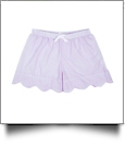 The Coral Palms® Ladies Scalloped Seersucker Lounge Shorts Embroidery Blanks - LAVENDER