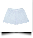 The Coral Palms® Ladies Scalloped Seersucker Lounge Shorts Embroidery Blanks - BLUE