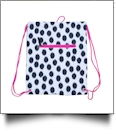 Polka Dot Ikat Print Gym Bag Drawstring Pack Embroidery Blanks - BLACK/HOT PINK TRIM