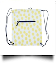 Polka Dot Ikat Print Gym Bag Drawstring Pack Embroidery Blanks - YELLOW/NAVY TRIM