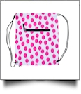 Polka Dot Ikat Print Gym Bag Drawstring Pack Embroidery Blanks - HOT PINK/BLACK TRIM