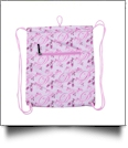 Ballet Dance Print Gym Bag Drawstring Pack Embroidery Blanks - PINK