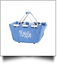 Mini Foldable Market Tote Embroidery Blanks - BLUE HYDRANGEA