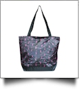 Pink Ribbon Print Tote Bag Embroidery Blanks - BLACK TRIM - CLOSEOUT