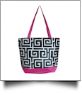 Greek Key Print Tote Bag Embroidery Blanks - BLACK/HOT PINK TRIM - CLOSEOUT