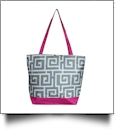 Greek Key Print Tote Bag Embroidery Blanks - GRAY/HOT PINK - CLOSEOUT