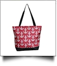 Anchor Print Tote Bag Embroidery Blanks - HOT PINK/BLACK TRIM - CLOSEOUT