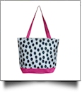 Polka Dot Ikat Print Tote Bag Embroidery Blanks - BLACK/HOT PINK TRIM - CLOSEOUT