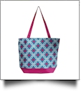 Graphic Print Tote Bag Embroidery Blanks - TURQUIOISE/HOT PINK TRIM - CLOSEOUT