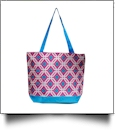 Graphic Print Tote Bag Embroidery Blanks - HOT PINK/TURQUOISE TRIM - CLOSEOUT