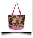 Exotic Fashion Print Tote Bag Embroidery Blanks - HOT PINK TRIM - CLOSEOUT