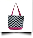 Chevron Print Tote Bag Embroidery Blanks - HOT PINK TRIM