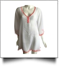 Chiffon Pom-Pom Tunic Swimsuit Cover-Up Embroidery Blanks - WHITE/CORAL