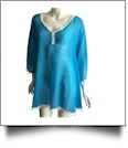Chiffon Pom-Pom Tunic Swimsuit Cover-Up Embroidery Blanks - TURQUOISE/WHITE