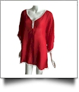 Chiffon Pom-Pom Tunic Swimsuit Cover-Up Embroidery Blanks - RED/WHITE - CLOSEOUT