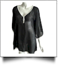 Chiffon Pom-Pom Tunic Swimsuit Cover-Up Embroidery Blanks - BLACK/WHITE