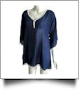 Chiffon Pom-Pom Tunic Swimsuit Cover-Up Embroidery Blanks - NAVY/WHITE