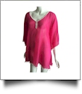 Chiffon Pom-Pom Tunic Swimsuit Cover-Up Embroidery Blanks - HOT PINK/WHITE