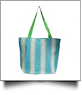 Dotty Stripe Print Tote Bag Embroidery Blanks - AQUA/LIME