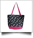 Moustache Print Tote Bag Embroidery Blanks - HOT PINK TRIM - CLOSEOUT