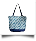 Chevron Ikat Print Tote Bag Embroidery Blanks - BLUE - CLOSEOUT